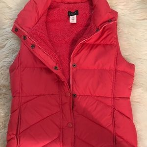 J.Crew pink puff vest with soft fleece lining